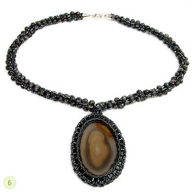 Колье и кулон (Туманность Андромеды) из бисера с камнем кошачий глаз, гематит, агат.